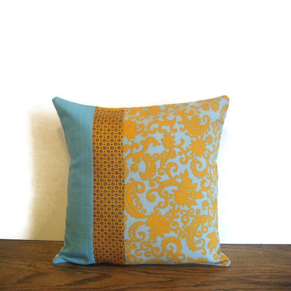 For Deirdre  turquoise throw pillow vintage and new fabrics pieced modern decor sofa fashion orange