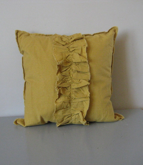Yellow Linen Throw Pillow : yellow throw pillow modern shabby ruffle linen by Bonnevieshop