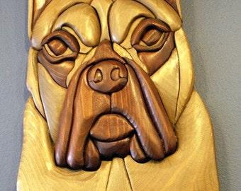 Boxer Handmade Intarsia Wood Dog Art fretwork