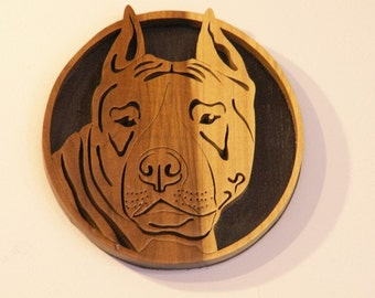 American Staffordshire Terrier Handmade Fretwork Wood Art Dog Breed Portrait by dogWoodbyDave on Etsy