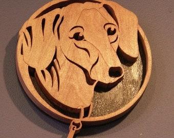 Handmade Fretwork Wood Dog Art Dachshund Breed Portrait by dogWoodbyDave on Etsy