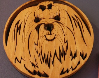 Maltese Handmade Fretwork Wood Dog Art Breed Portrait