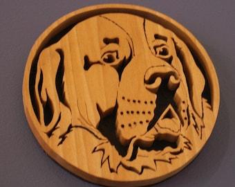 Saint Bernard Handmade Fretwork Breed Portrait Wood Dog Art