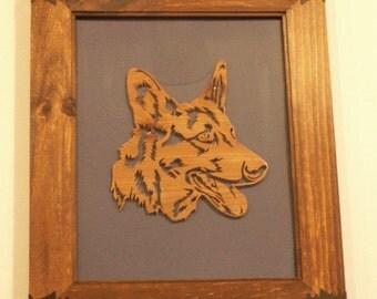German Shepherd Handmade Fretwork Dog Wood Framed Art