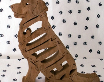 Golden Retriever Sitting Handmade Fretwork Wood Dog Puzzle