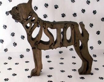 Boston Terrier Handmade Fretwork Jigsaw Puzzle Wood Dog by dogWoodbyDave on Etsy