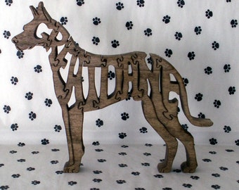 Great Dane with Cropped Ears Handmade Wood Fretwork Jigsaw Puzzle