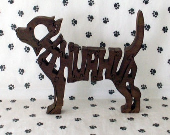 Chihuahua Handmade Fretwork Jigsaw Puzzle Wood Dog by dogWoodbyDave on Etsy