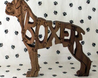 Boxer with Natural Ears Handmade Fretwork Wood Jigsaw Puzzle by dogWoodbyDave on Etsy