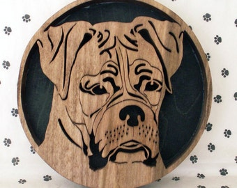 Handmade Fretwork Wood Dog Art Boxer Breed Portrait by dogWoodbyDave on Etsy