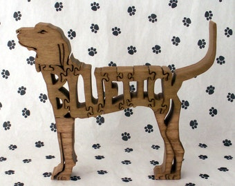Bluetick Hound Handmade Fretwork Wood Jigsaw Puzzle by dogWoodbyDave on Etsy