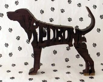 Redbone Coonhound Handmade Fretwork Wood Jigsaw Puzzle