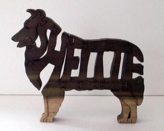 Sheltie Handmade Wood Fretwork Jigsaw Puzzle Shetland Sheepdog