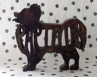 Papillon Handmade Fretwork Jigsaw Puzzle Wood Dog by dogWoodbyDave on Etsy