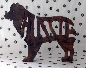 Australian Shepherd Handmade Fretwork Jigsaw Puzzle Wood Dog
