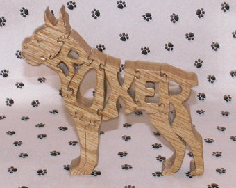 Boxer with Cropped Ears Handmade Wood Fretwork Jigsaw Puzzle