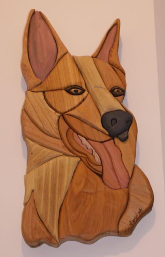 German Shepherd Handmade Intarsia Wood Dog Art fretwork