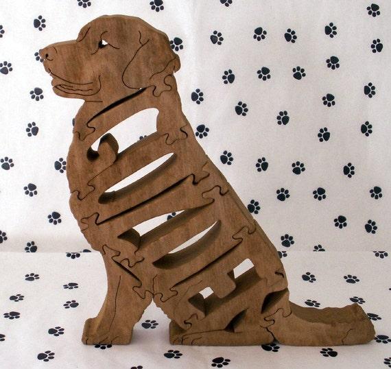 Golden Retriever Sitting Handmade Fretwork Wood Dog Puzzle