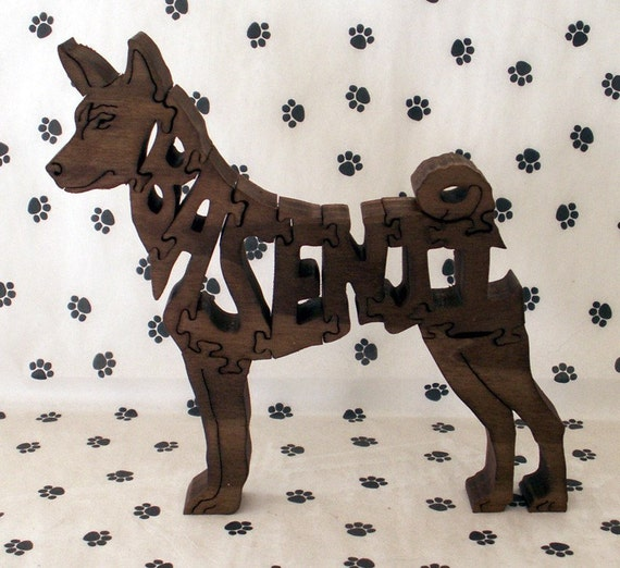 Basenji Handmade Fretwork Jigsaw Puzzle Wood Dog by dogWoodbyDave on Etsy