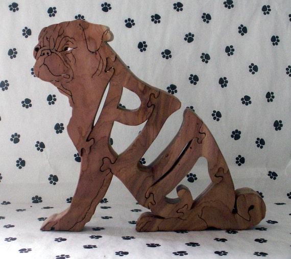 Pug SittingHandmade Fretwork Jigsaw Puzzle Wood Dog