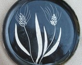 SALE Pottery Decorative Plate Black and White Wheat Handmade by Daisy Friesen