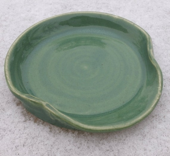 Ceramic Spoon Rest in Spring Green Handmade by Daisy Friesen