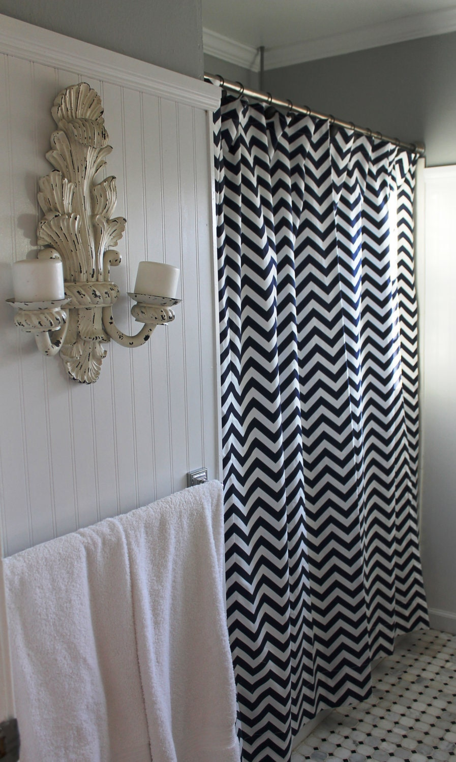 navy white zigzag chevron shower curtain by lafortunelinens