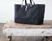 Tool / Garden Tote in Black Waxed Canvas & Leather