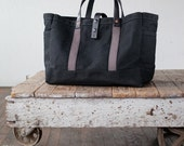No. 175 Tool / Garden Tote in Black Waxed Canvas & Charcoal Webbing