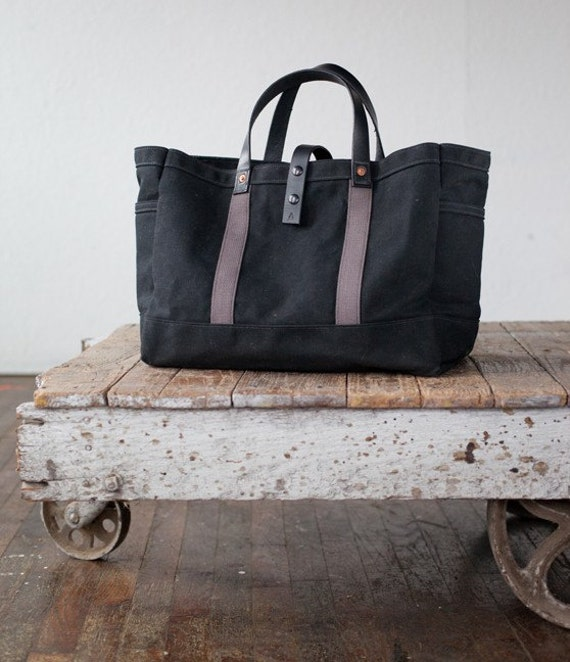 Tool / Garden Tote in Black Waxed Canvas & Charcoal Webbing