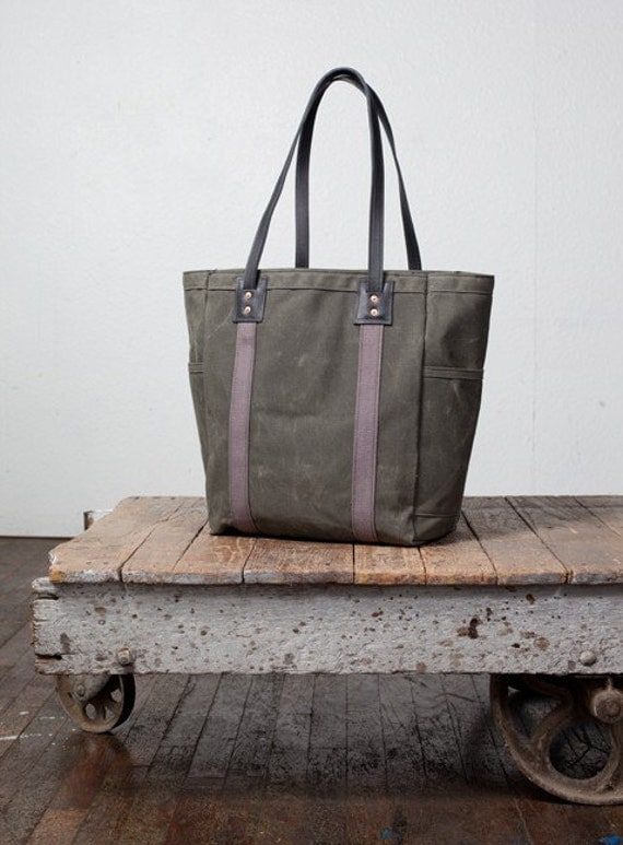 No. 105 Utility Tote in Olive Waxed Canvas, Charcoal Webbing, & Black Leather