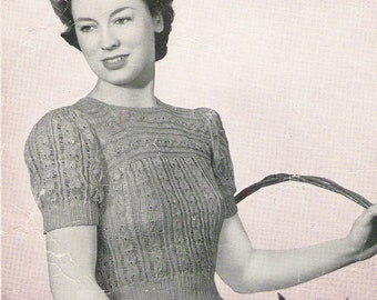 1940s knitting pattern - 40s sweater pattern - PDF file - instant download - short sleeve jumper - vintage knitting