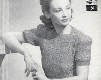 40s knitting pattern - URSULA sweater, pdf file - instant download - short sleeve jumper - vintage knitting