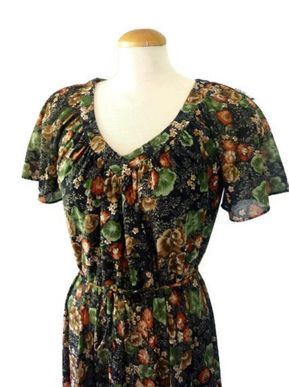 boho dress - 70s vintage dress in earthy floral print