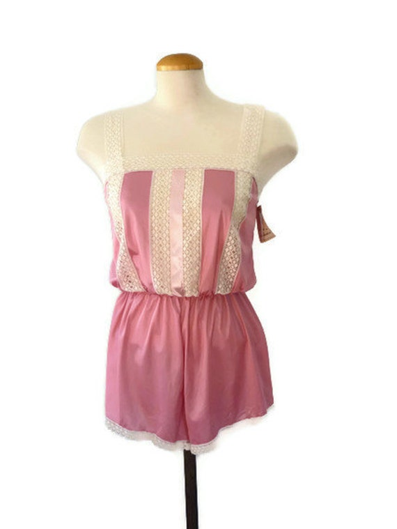 pink 80s teddy - lingerie - new with tags - rose pink lace teddy - bridal lingerie