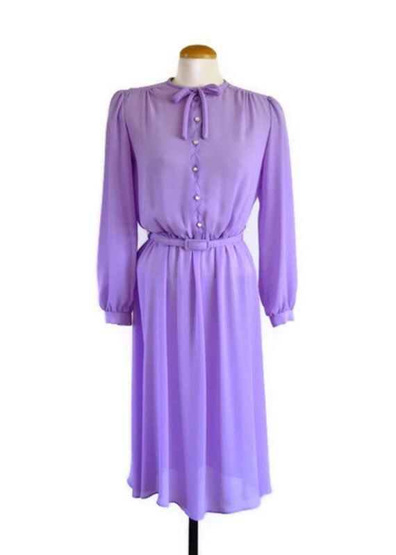 70s dress  - lavender scalloped 70s secretary dress -  vintage dresses