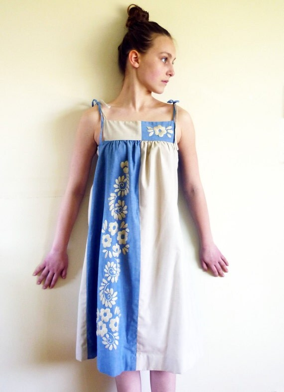 70s sundress - mexican color block dress-  vintage dress 1970s sun dress