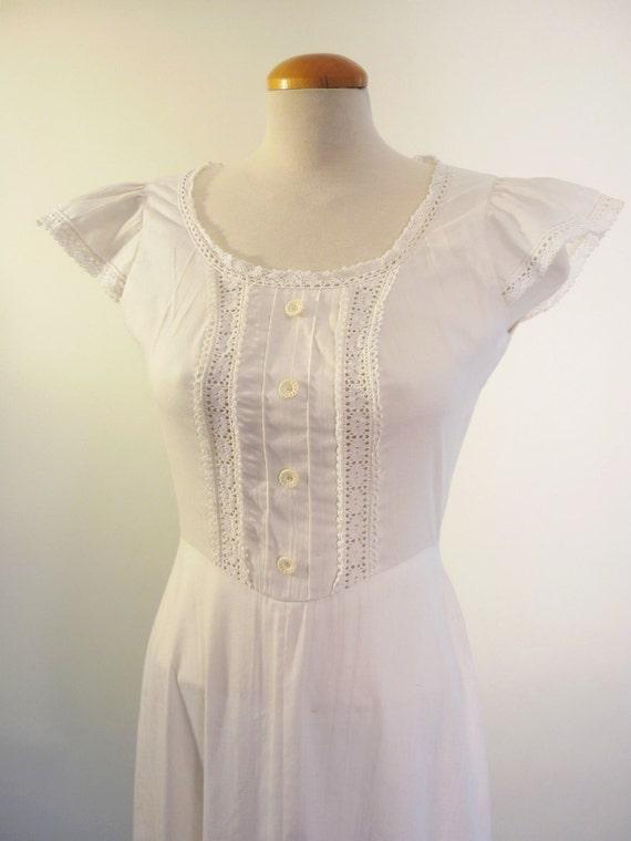 70s prairie dress - gunne sax look ivory maxi dress - vintage dresses
