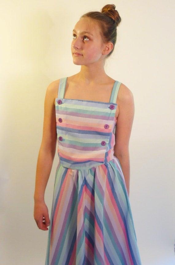 Reserved - chevron dress  - pastel striped sundress - vintage dresses