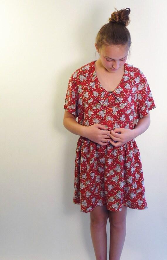 grunge dress  - 80s dress - vintage dresses - floral print baby doll dress