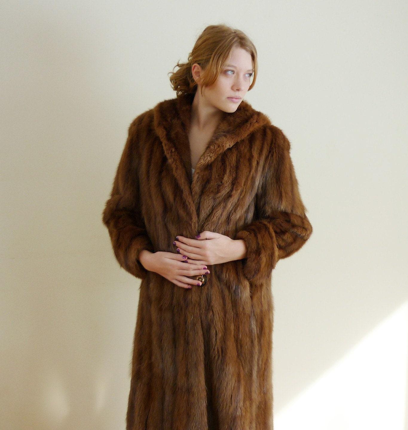 1960s fur coat MUSKRAT vintage fur coat by QuinceVintage