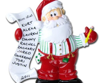 Personalized Christmas Ornament Santa's Nice List- Great for Grandkids, Co-workers, Staff, Crew- Upto 10 names