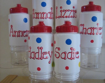 Personalized Polka Dots Kids Water Bottles Party Favor- Birthdays, Christenings, Communions, Weddings
