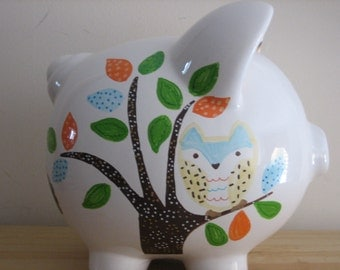 Personalized  Large Piggy  Bank Forest Friends- Owl, Giraffe, Porcupine-Newborns , Girls , Baby Shower Gift Centerpiece