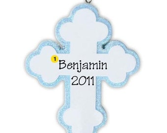 Personalized Christmas Ornaments- Religious Baby Cross, Pink and BLue- Christenings , Communions, Gift Tags