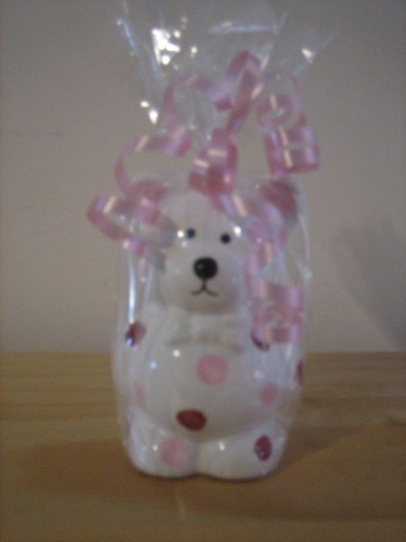Personalized Party Favor Bear Piggy  Banks Polka Dots Any Color perfect for Baby Showers and Birthdays