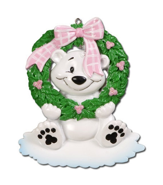 Personalized Baby's First Christmas Polar Bear Ornament-  girl