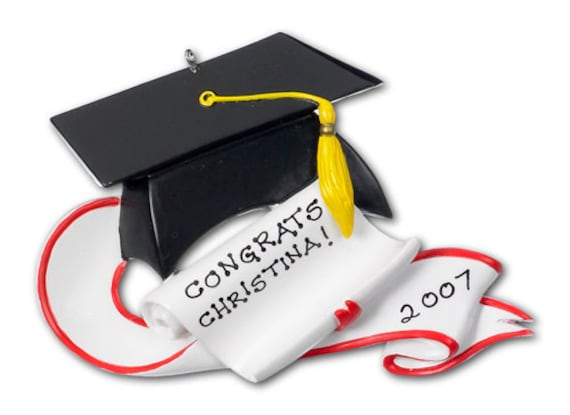 Personalized Christmas Graduation Ornament with Scroll and Tassle- Great Grad gift
