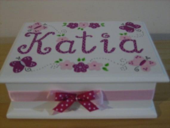 Personalized Musical Jewelry Box- Fuschia/ Hot pink Flower Girl , Birthday ,Communion , Christening, Newborn Gift