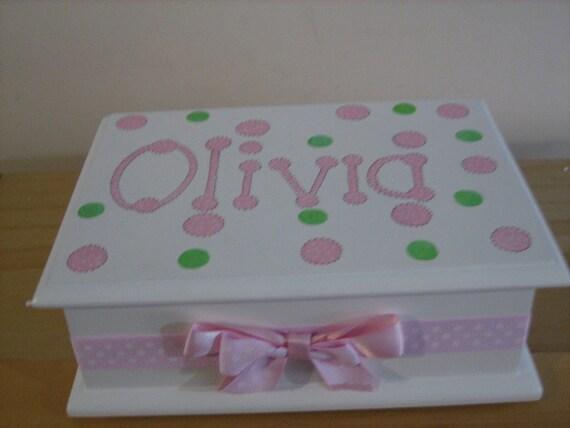 Personalized Musical Jewelry Box-Pink/ Green Polka Dots Flower Girl , Birthday ,Communion , Christening, Newborn Gift